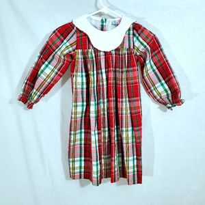 Girl's Vintage Red Plaid Collared Christmas Dress